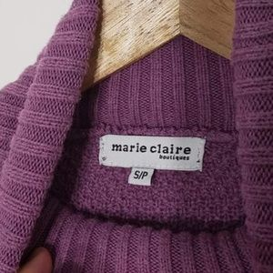 Marie Claire Sweaters - Marie Claire | Strip Cable Knit Turtleneck Sweater